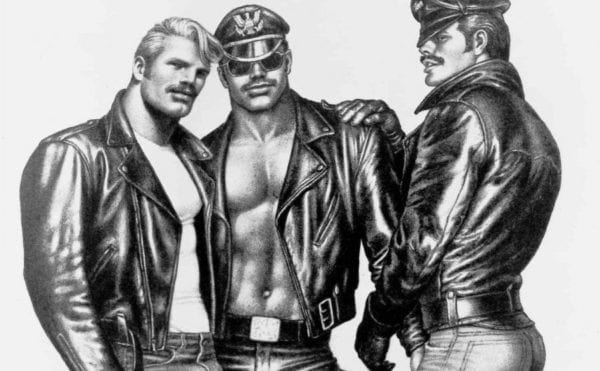Illustration of three muscly men by Tom of Finland
