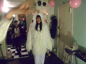 Amanda in chicken suit duh