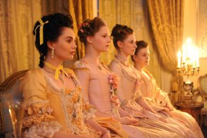 "HARLOTS -- ""Episode 1"" Episode 101 -  Margaret Wells' business comes under attack from a rival madam. As they risk losing everything, how much will Margaret and her daughters have to sacrifice to keep the brothel, and the Wells family afloat? Marie-Louise D'Aubigne (Poppy Corby-Tech), left, shown. (Photo by: Liam Daniel/Hulu)"