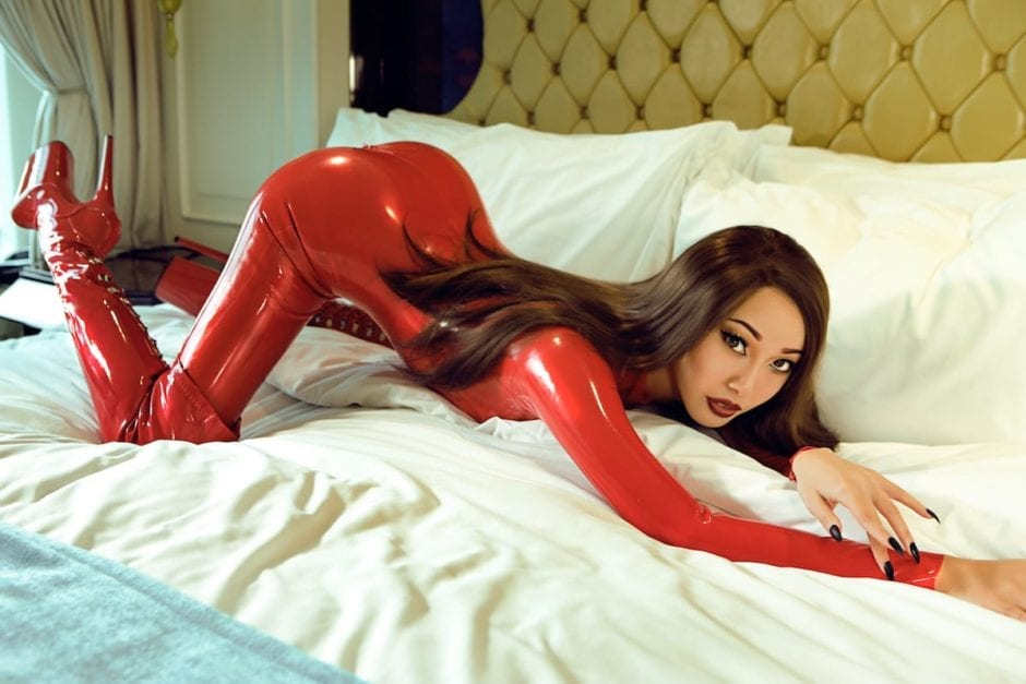 Mistress Eva in red latex