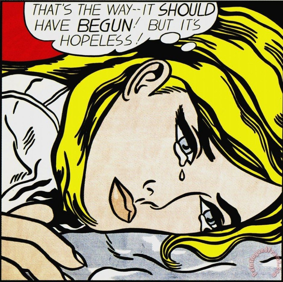 Hopeless Painting by Roy Lichtenstein; Hopeless Art Print for sale